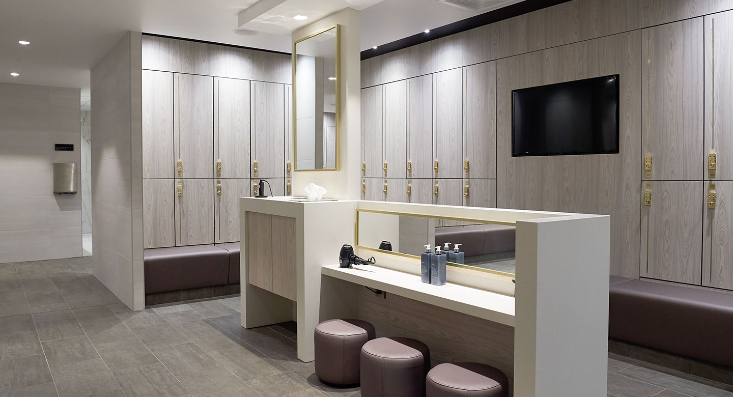 Newly refurbished locker rooms at Harbour Club Chelsea