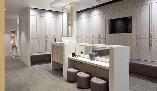 Women's locker room at Harbour Club Chelsea.