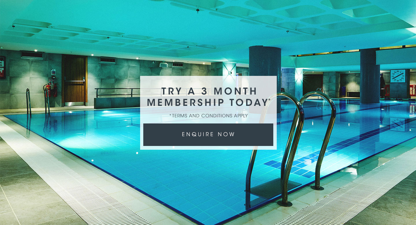 Harbour Club Kensington swimming pool. Text: Try a 3 month membership today. Enquire now.