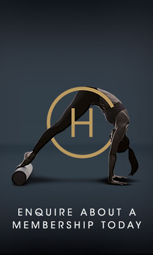 A woman doing a yoga pose over the Harbour Club logo. Enquire about a membership today.